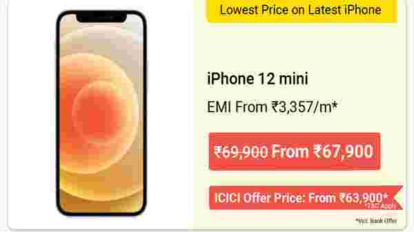 Apple iPhone 12 Mini (up to Rs. 16,500 off)