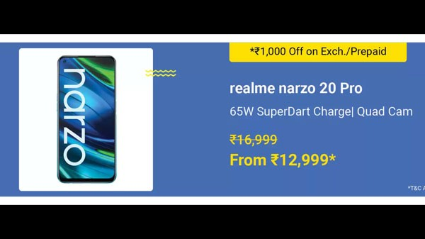 Narzo 20 Pro (MRP: Rs. 16,999, Discount Price: Rs. 12,999)
