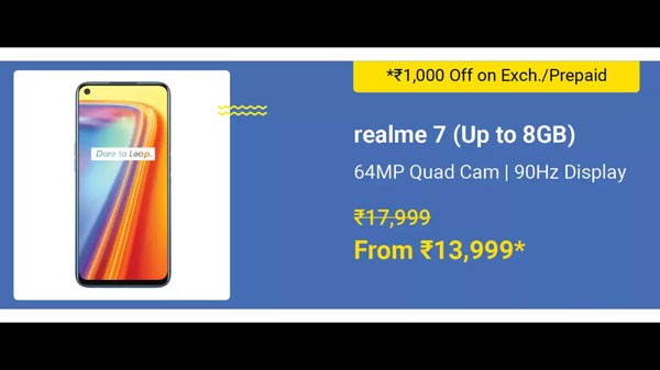 Realme 7 (MRP: Rs. 17,999, Discount Price: Rs.13,999)