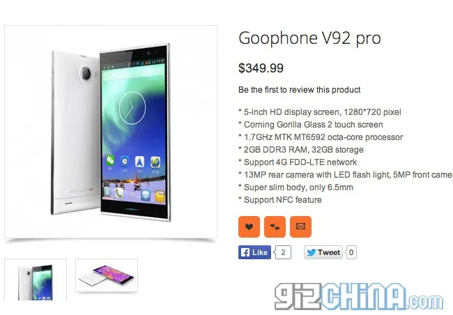 GooPhone V92 pro is a turbo charged iNew V3 with octacore ...
