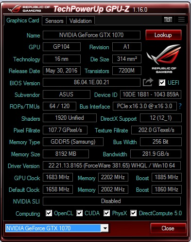 Frecuencias con OC, con picos máximos de 2088 MHz.