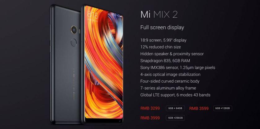 Xiaomi Mi Mix 2 precios