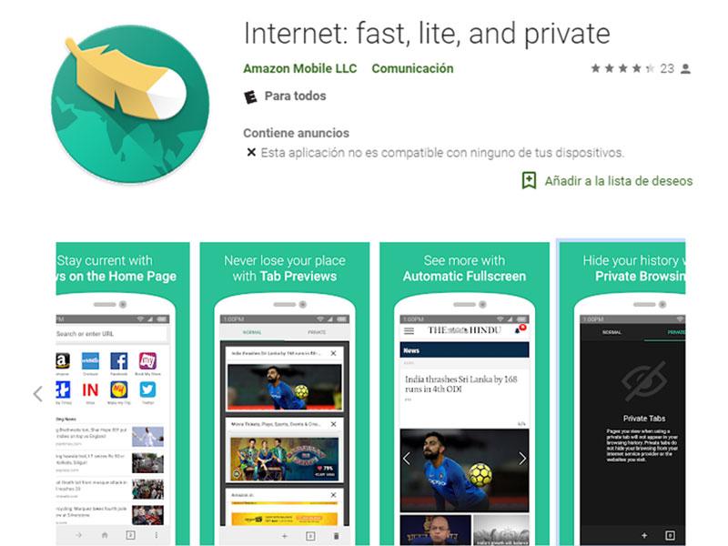 AmazonInternet, el nuevo navegador rápido, ligero y privado