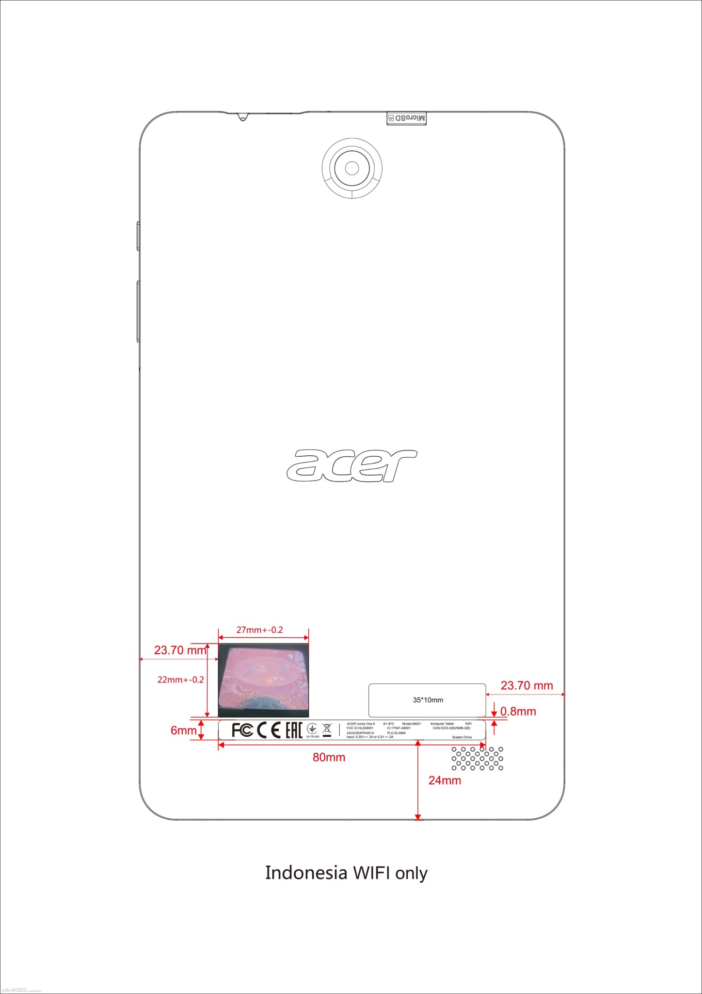 Acer Iconia One 8 (2018) Tablet Specs & Schematics Seen on