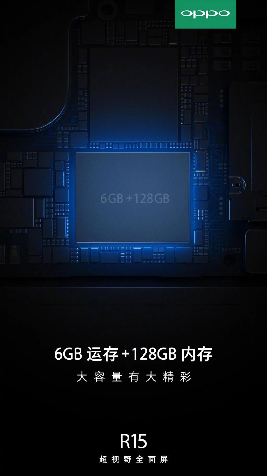 Latest OPPO R15 Teaser Confirms 6GB RAM and 128GB Storage - Gizmochina