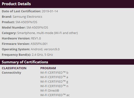 Samsung Galaxy A50 WFA Certification