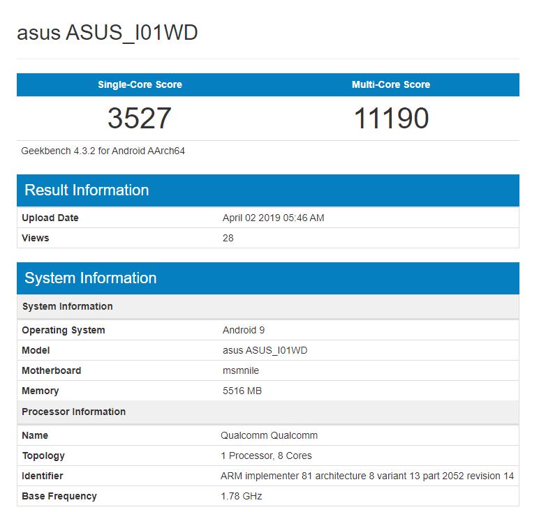 ASUS Zenfone 6z Geekbench