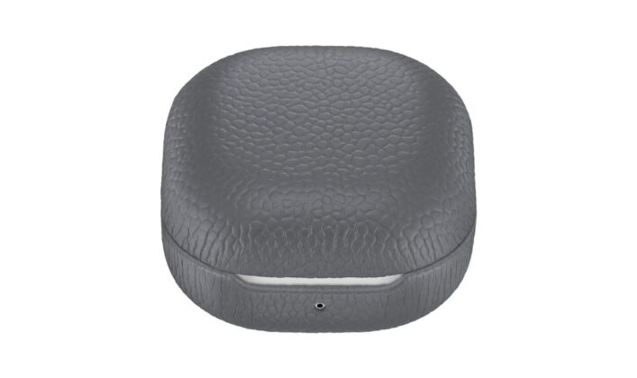 Samsung Galaxy Buds Live Official Leather Case Gray Closed