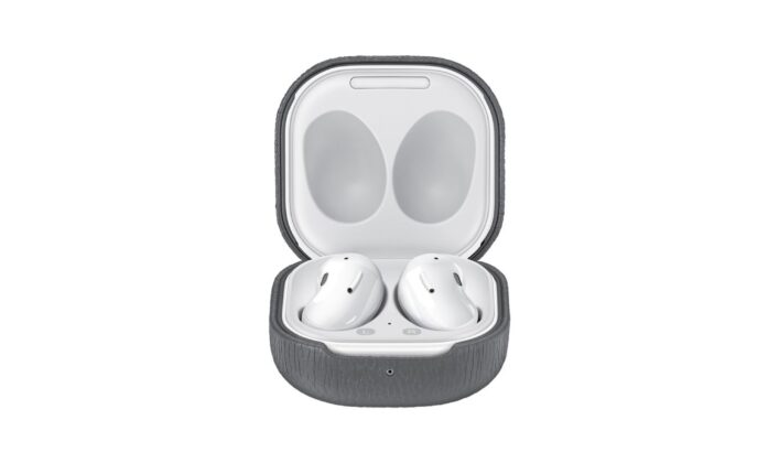 Samsung Galaxy Buds Live Official Leather Case Gray Opened