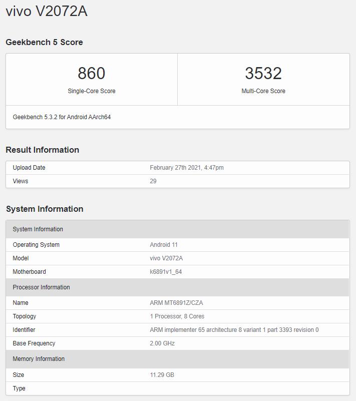 Vivo S9 5G Geekbench