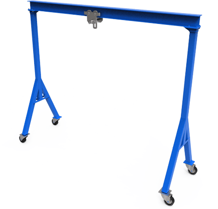 diy gantry crane made of metal and painted blue