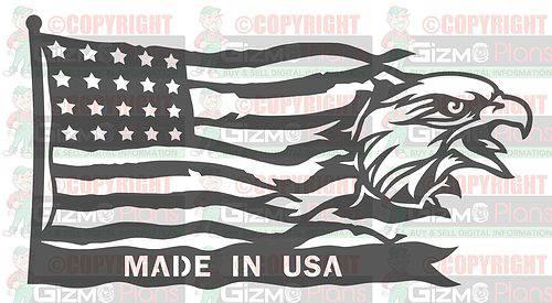 Eagle Flying Flag DXF Plasma File