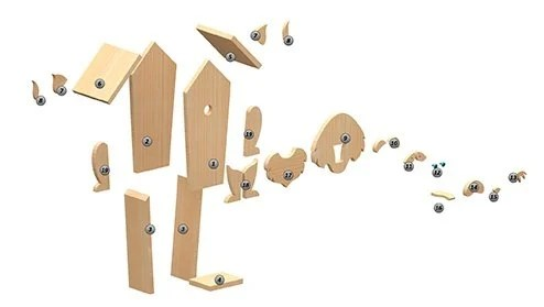 decomposed view of cat birdhouse plans