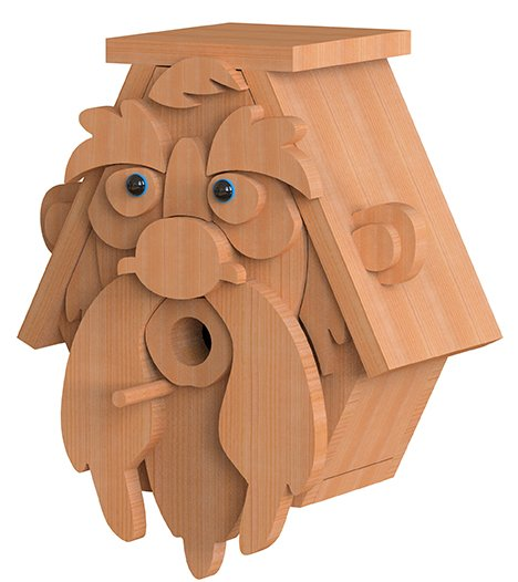 left view of old man birdhouse plans