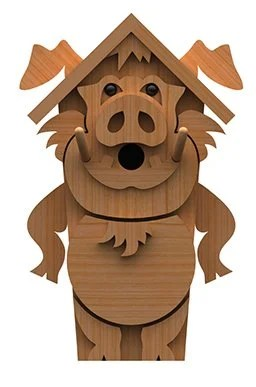 pig birdhouse plan front view
