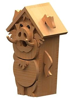 pig birdhouse plan left view