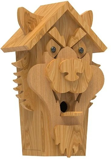right view of wolf birdhouse plans
