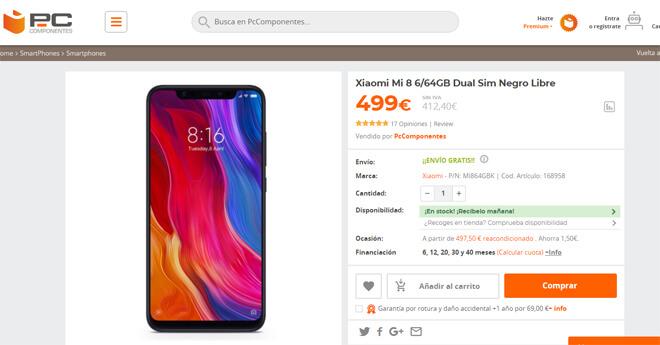 Xiaomi mi 8 pc componentes