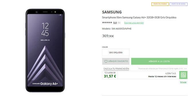 Comprar el Galaxy A6+ en El Corte Inglés