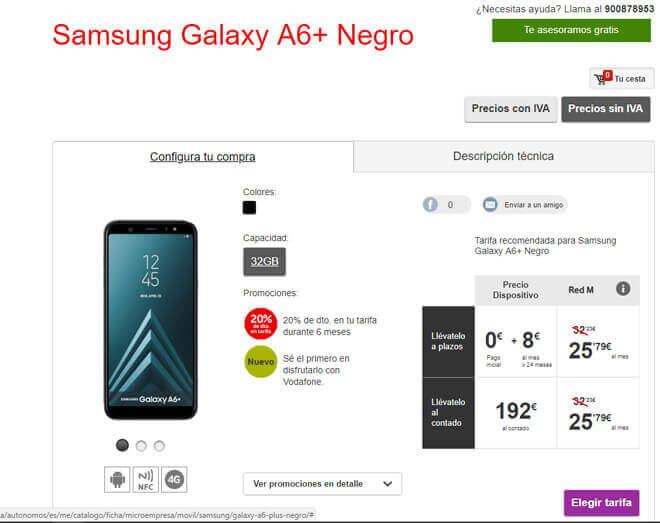 Comprar el Galaxy A6+ en Vodafone