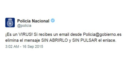 ¡Alerta de Virus! No abras ningún mensaje de policia@gobierno.es