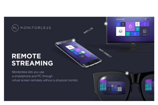 Otra de las aplicaciones de realidad virtual y aumentada de Samsung es Monitorless que cuenta con proyectores internos