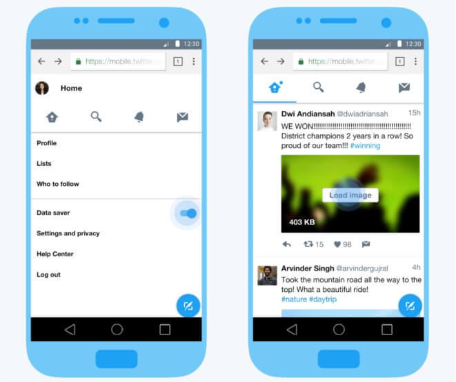 Nueva experiencia web móvil que minimiza el uso de datos
