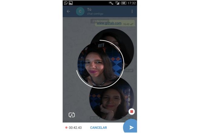 Así se graba un videomensaje de Telegram
