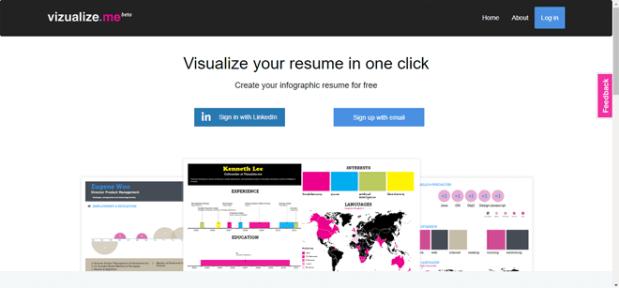 En Visualize.me encontrarás una gran gama de infografías que te ayudarán a realizar un curriculum muy original