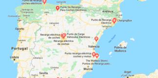 mapa de recargas para coches eléctricos
