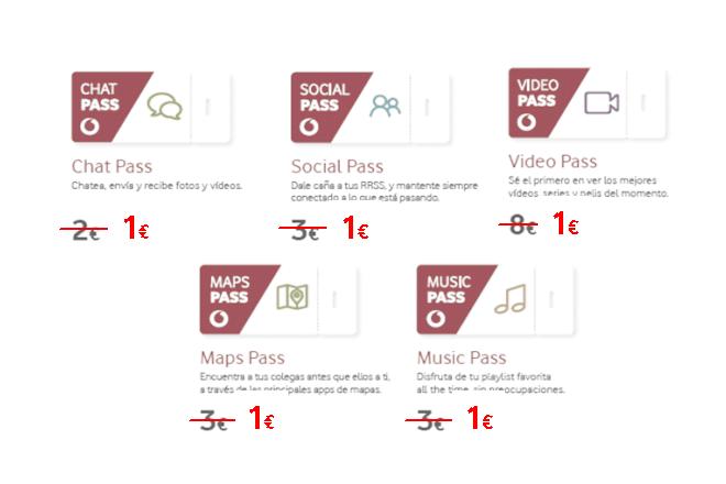 Vodafone Pass permite a los usuarios tener Gigas ilimitados en sus apps favoritas. Las modalidades incluidas en la oferta y que pueden renovarse o contratarse por 1€ cada una son