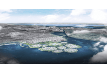 Imagen aérea de las islas artificiales de Dinamarca