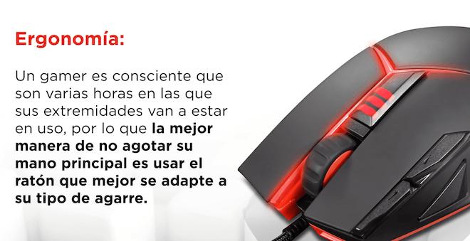 La ergonomia es un factor clave a la hora de elegir un ratón gamer
