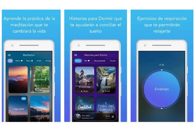 imagen de tres pantallas de móvil con la app Calm