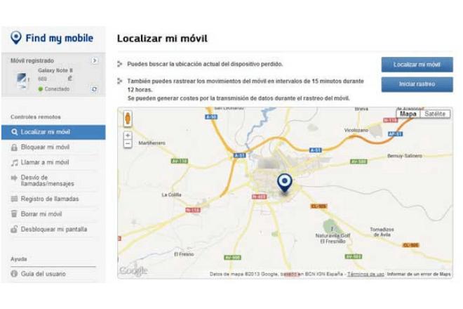 """imagen de pantalla de la herramienta """"Encontrar mi móvil"""" de Samsung"""