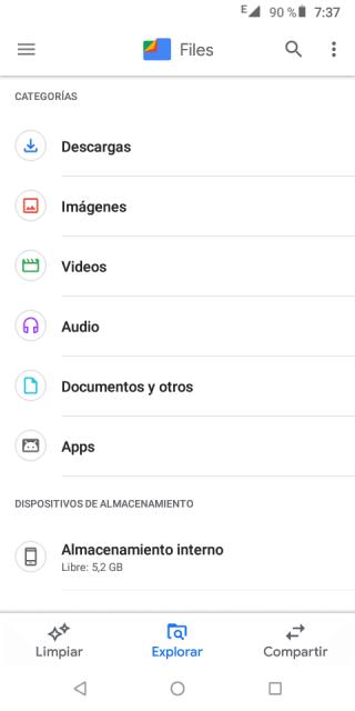 """Captura de pantalla de la aplicación """"Explorador de Archivos"""""""
