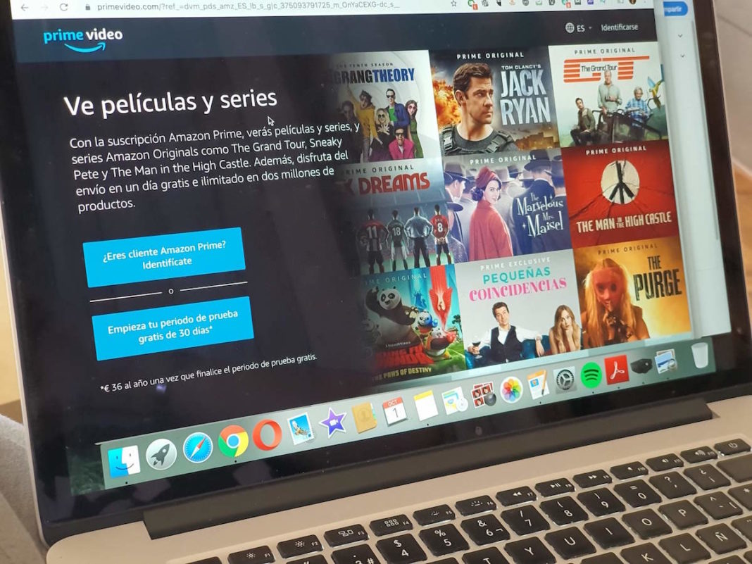 Página de inicio de Amazon Prime Video en un ordenador MAC