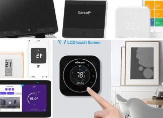 Collage de fotografías de termostatos inteligentes