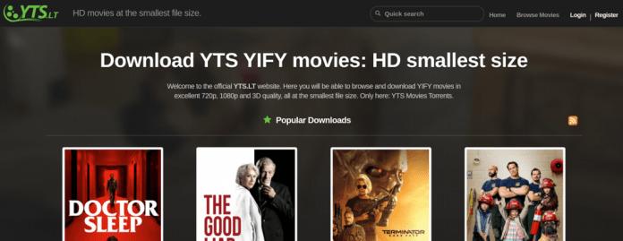 YTS.am web torrent en inglés