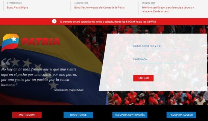 Registro en página Patria