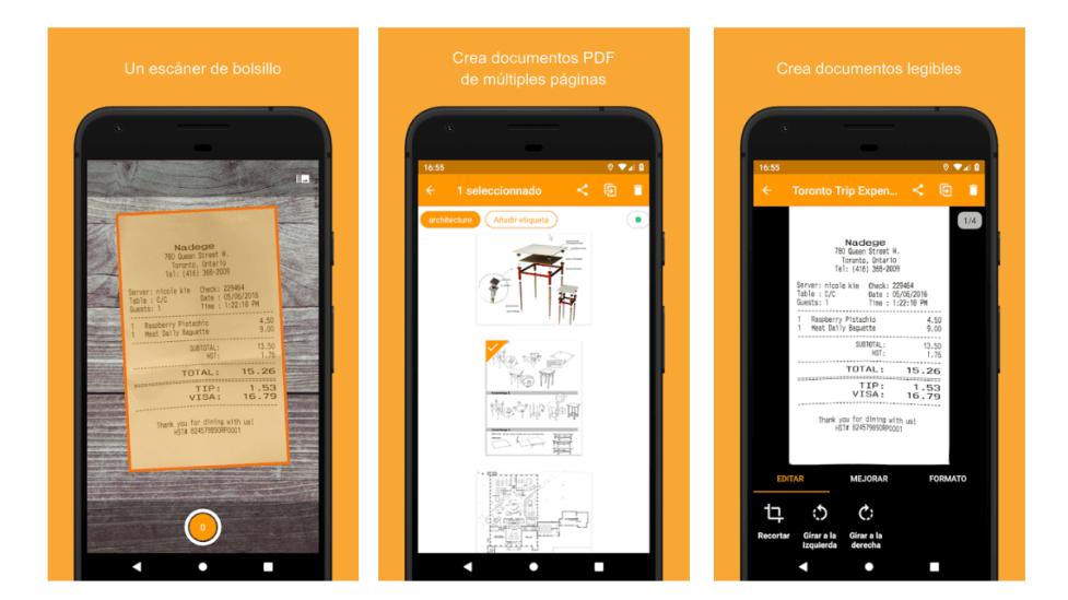 Corrección de distorsión es otra de las caracterìsticas de esta App.