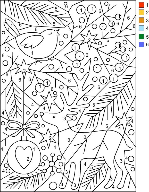 dibujo navidad colorear por numeros
