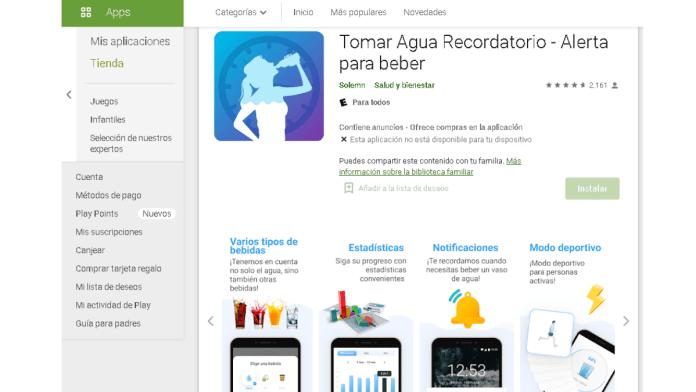 5 app para recordar beber agua.