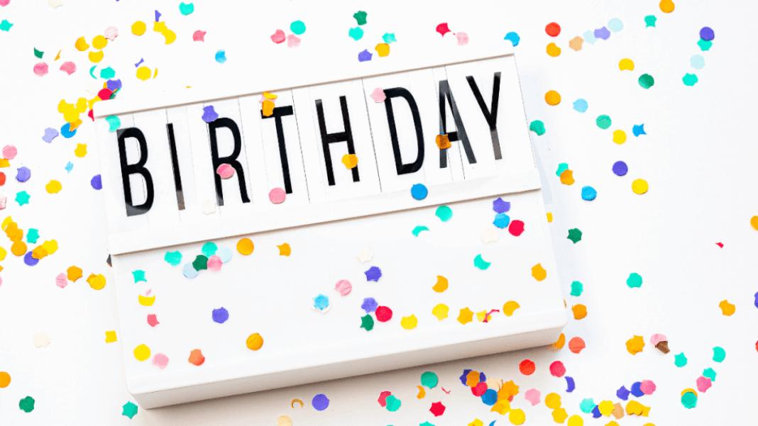 Cartel con la palabra Birthday y papelillos de colores