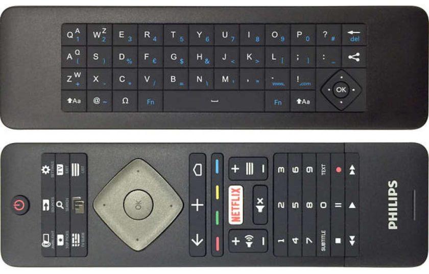 55PUS6561. Mando de control con teclado para escritura trasero.