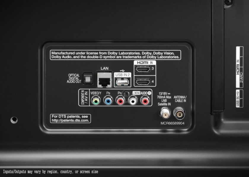 LG 49UJ701V Conectores de la pantalla en cara trasera.