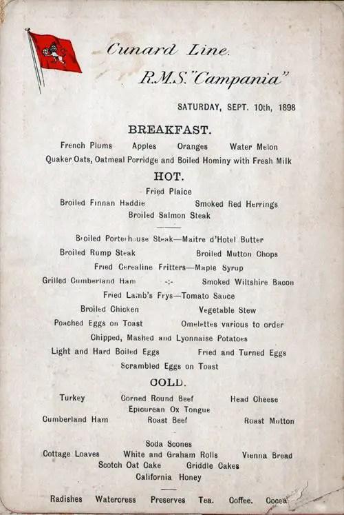 Breakfast Menu Card RMS Campania September 1898 GG
