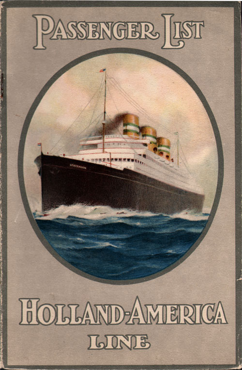 TSS Rotterdam Passenger List 11 September 1929  GG