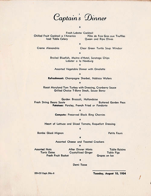 SS America Captains Dinner Menu 10 August 1954  GG Archives