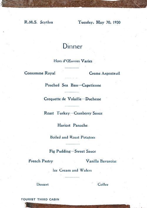 RMS Scythia Dinner Menu  20 May 1930  GG Archives